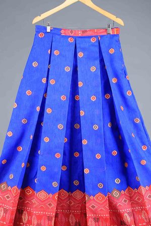 Electric Blue and Shocking Pink Block Print Style Indian Silk Lengha