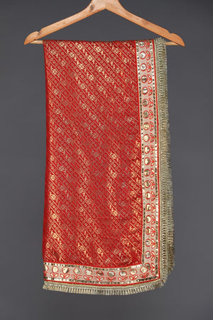 Red Banarsi Dupatta with Gota style and Kiran border details