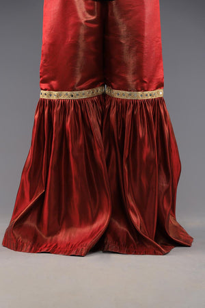 Maroon Shimmer Silk Gharara With Mirror Work Style Detailing