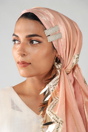 Pink shimmer silk scarf with Gold sequinned tassel details