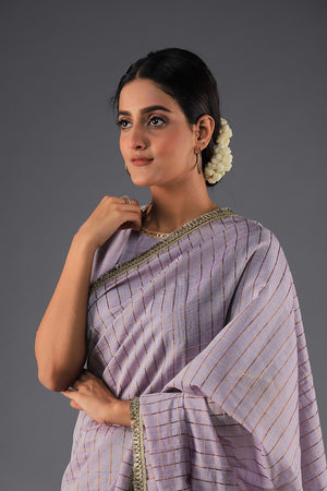 Cotton Silk Vintage Pastel Purple Handloom Saari With Kiran Border Style Finishing and unstitched blouse with gota style lace details