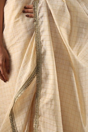 Cotton Silk Vintage Off White Handloom Saari With Kiran Border Style Finishing and unstitched blouse with gota style lace details