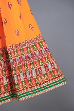 Orange and tribal print Border Block Print Lengha