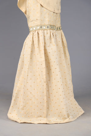 White Silk Vintage Gharara with Golden Zari polka dot details.