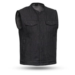 Haywood - Black Denim Men's Motorcycle Vest