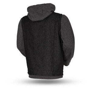 Rook - Men's Motorcycle Denim Vest with Gray/Black Base Hoodie