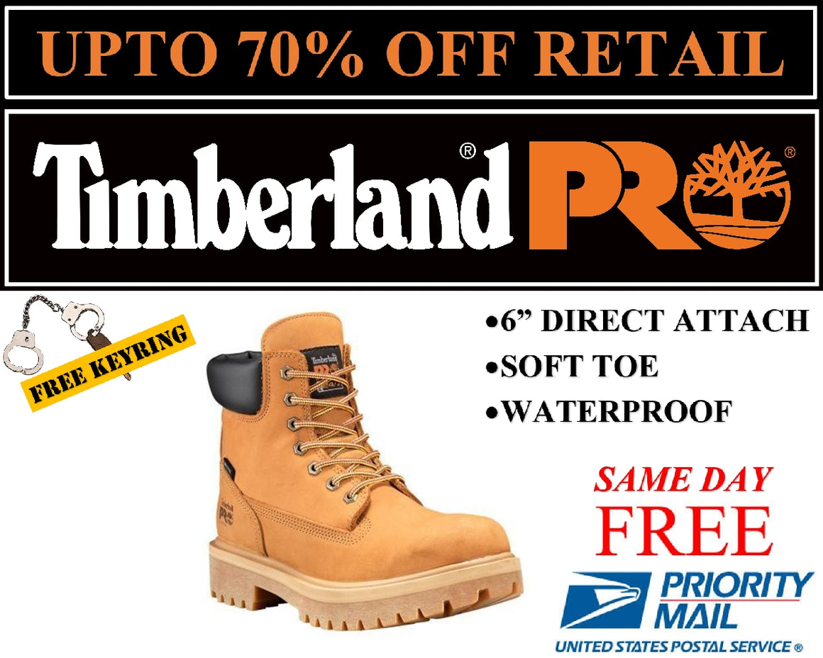 "Timberland PRO Men's Direct Attach 6"" Soft Toe Boots Wheat Nubuck TB065030713"