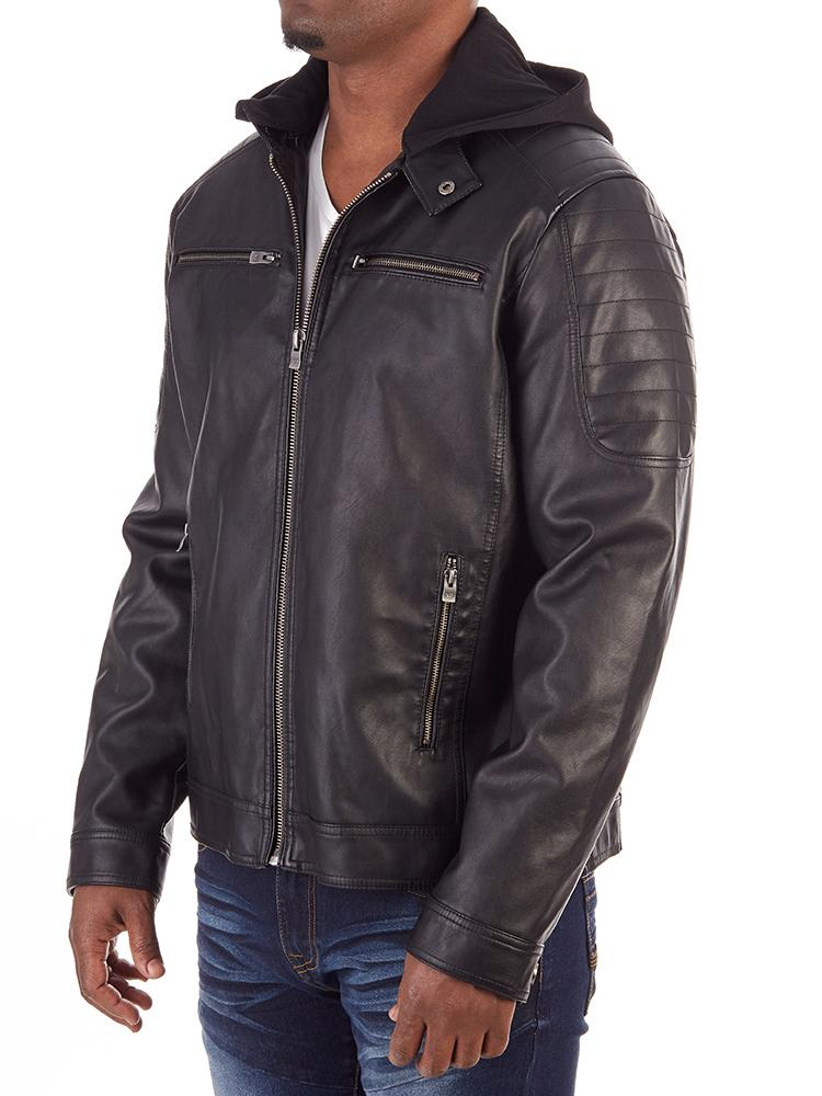 MEN'S PREMIUM FAUX LEATHER SHORT JACKET WITH REMOVABLE HOOD | XMLJ-58042