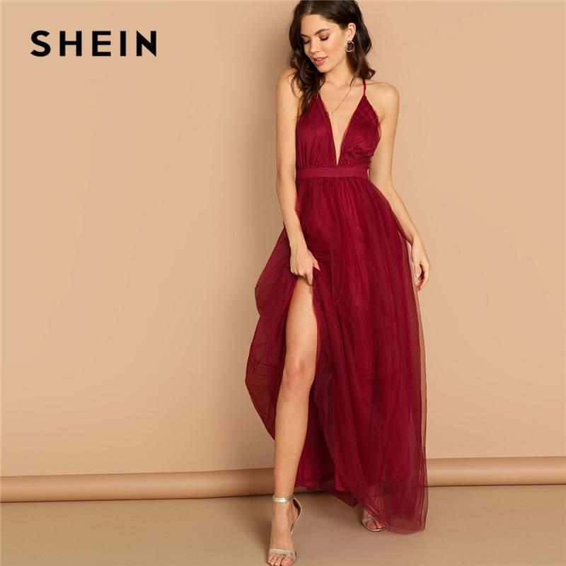 e32af3020f Burgundy Plunging Neck Crisscross Back Maxi Night Out Dress - donazil