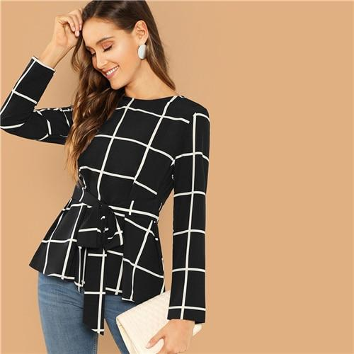 bfe4f354e2ca SHEIN Black Keyhole Back Grid Print Round Neck Belted Top Women 2019 Spring Long  Sleeve Blouse