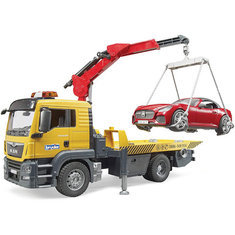 BRUDER MAN TGS Tow Truck With Red Roadster