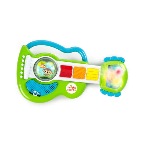 Your little rockstar will love rocking out to the lights and music of the Rattling Rockstar Guitar™ from Bright Starts™. Shake up the fun with the colorful rattle beads that make exciting sounds. Need to take the band on the go? Use the easy to carry handle to carry around the electronic guitar. Engage baby's senses with big colorful buttons that play 6 melodies while lights twinkle on the head of the guitar. Volume control switch allows you to control the volume. Baby's first guitar is sure to be a hit! Re