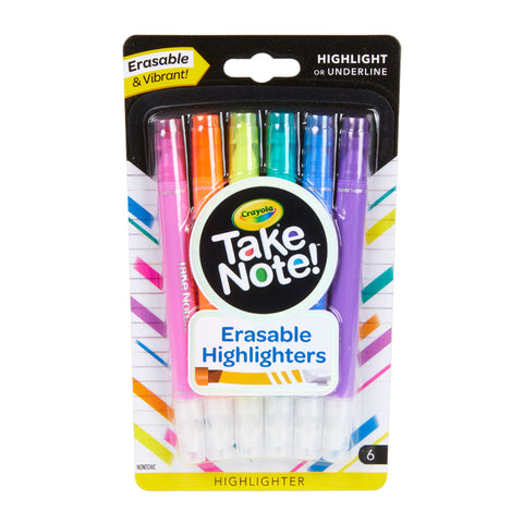 CRAYOLA Take Note Erasable Highlighters, 6 Count