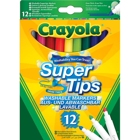 CRAYOLA Washable Super Tips Markers 12