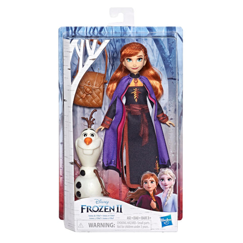 Disney Frozen Anna Doll With Buildable Olaf Figure and Backpack Accessory