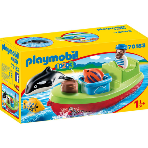PLAYMOBIL 1.2.3 Fisherman with Boat 70183