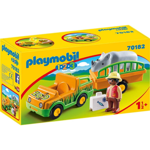 PLAYMOBIL 1.2.3 Zoo Vehicle with Rhinoceros 70182