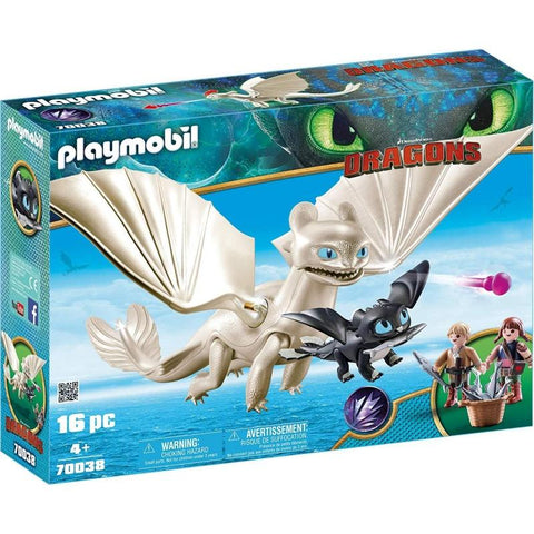 PLAYMOBIL Dragons Light Fury and Baby Dragon with Kids 70038