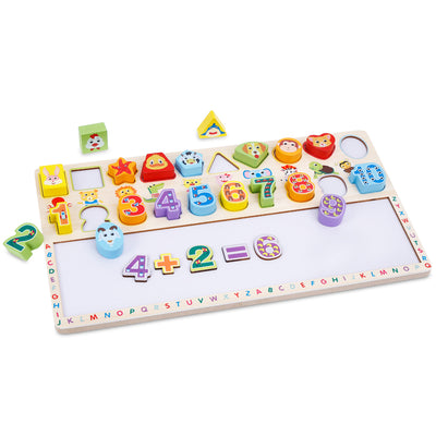 Tablita din lemn 3 in 1 - Cifre si forme Digital Shape Board