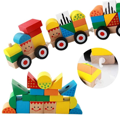 Trenulet din lemn - Stivuim cuburi si ne jucam - Building Blocks Three Train