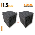 Aerial Acoustic Foam Panels, Pro Charcoal, Set of 18 Pcs