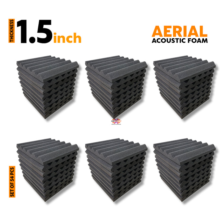 Aerial Acoustic Foam Panels, Pro Charcoal, Set of 54 Pcs