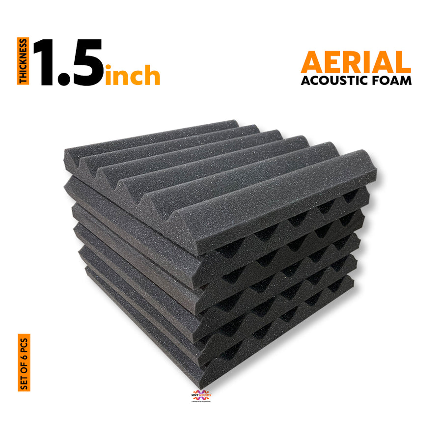 Aerial Acoustic Foam Panels, Pro Charcoal, Set of 6 Pcs