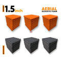 Aerial Acoustic Foam Panels, (27 Orange + 27 Black), Set of 54 Pcs