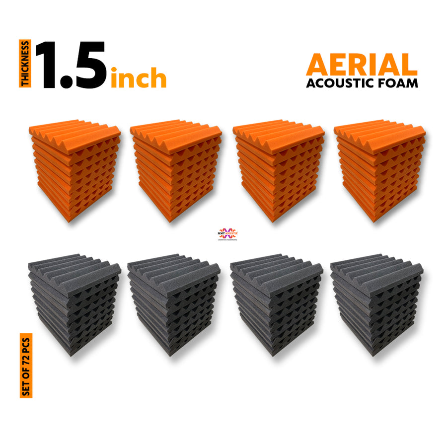 Aerial Acoustic Foam Panel (36 Orange + 36 Black), Set of 72