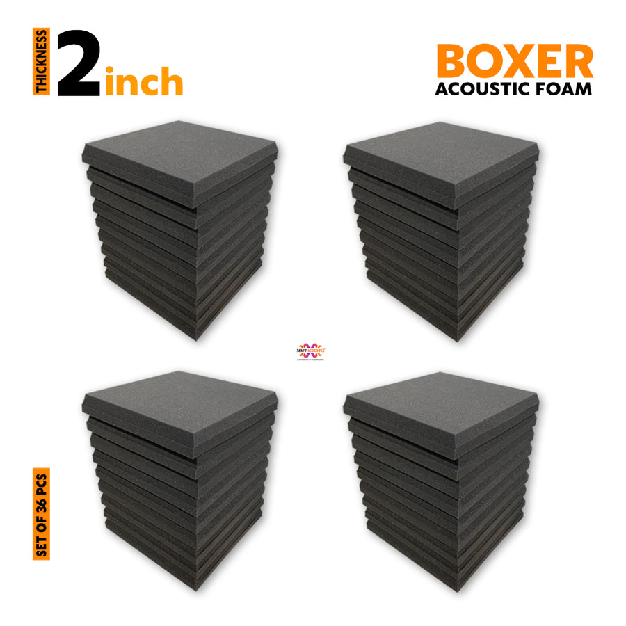 Boxer Acoustic Foam Panel, Pro Charcoal, Set of 36 pcs