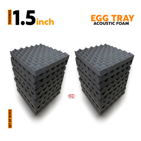 Egg Tray Acoustic Foam Panel, Pro Charcoal, Set of 18 Pcs.