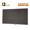Groove Acoustic Foam Panel, Pro Charcoal, 6'x3'