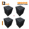Groove Acoustic Foam Panel, Pro Charcoal, Set of 36 pcs