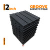 Groove Acoustic Foam Panel, Pro Charcoal, Set of 9 pcs