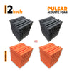 Pulsar Acoustic Foam Panel, Black + Orange, Set of 36 pcs