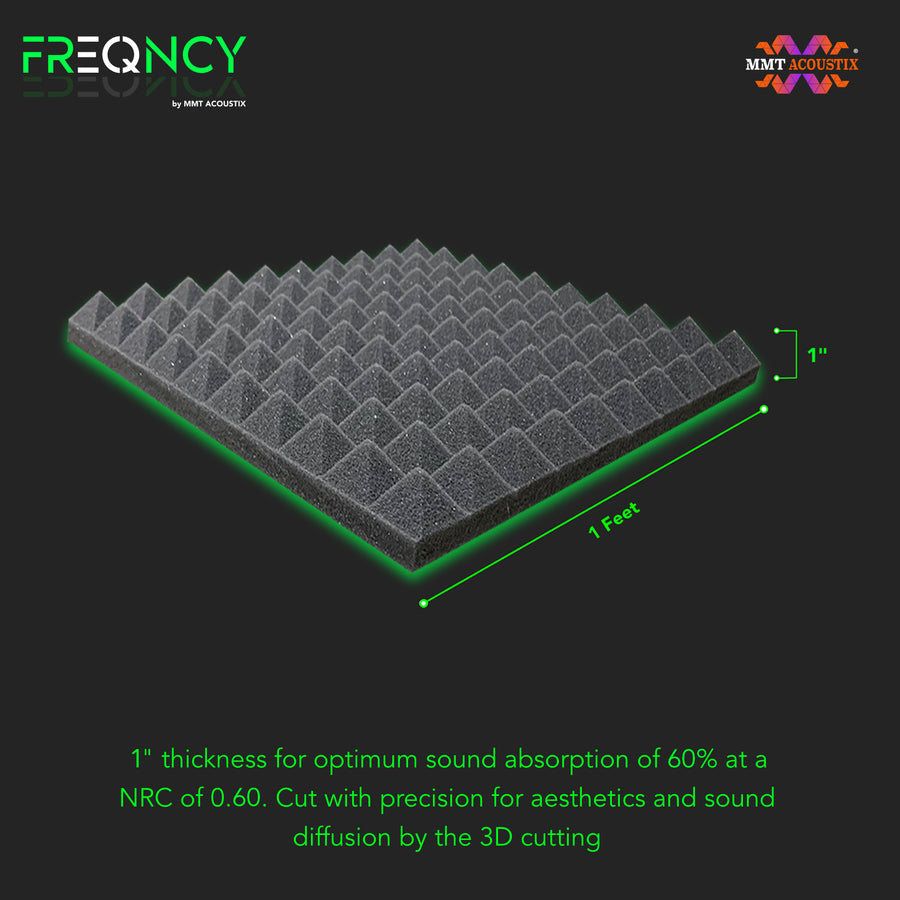 "FREQNCY® by MMT Acoustix® 1x1 ft, 1"" Pyramid Soundproofing Acoustic Foam Professional Charcoal Colour, Set of 18 Pcs"