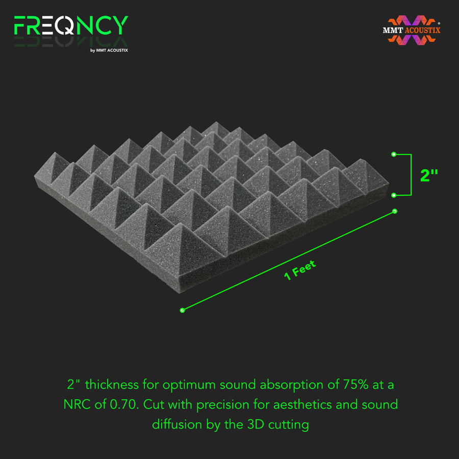 "FREQNCY® by MMT Acoustix® Pyramid Soundproofing Acoustic Foam 6x3 ft, 2"" (Professional Charcoal) - 1 Sheet"