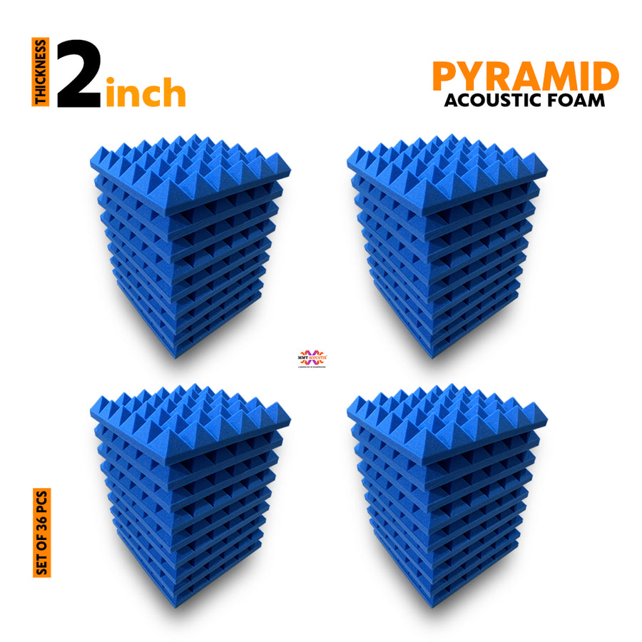 Pyramid Acoustic Foam Panel, European Blue, Set of 36 pcs