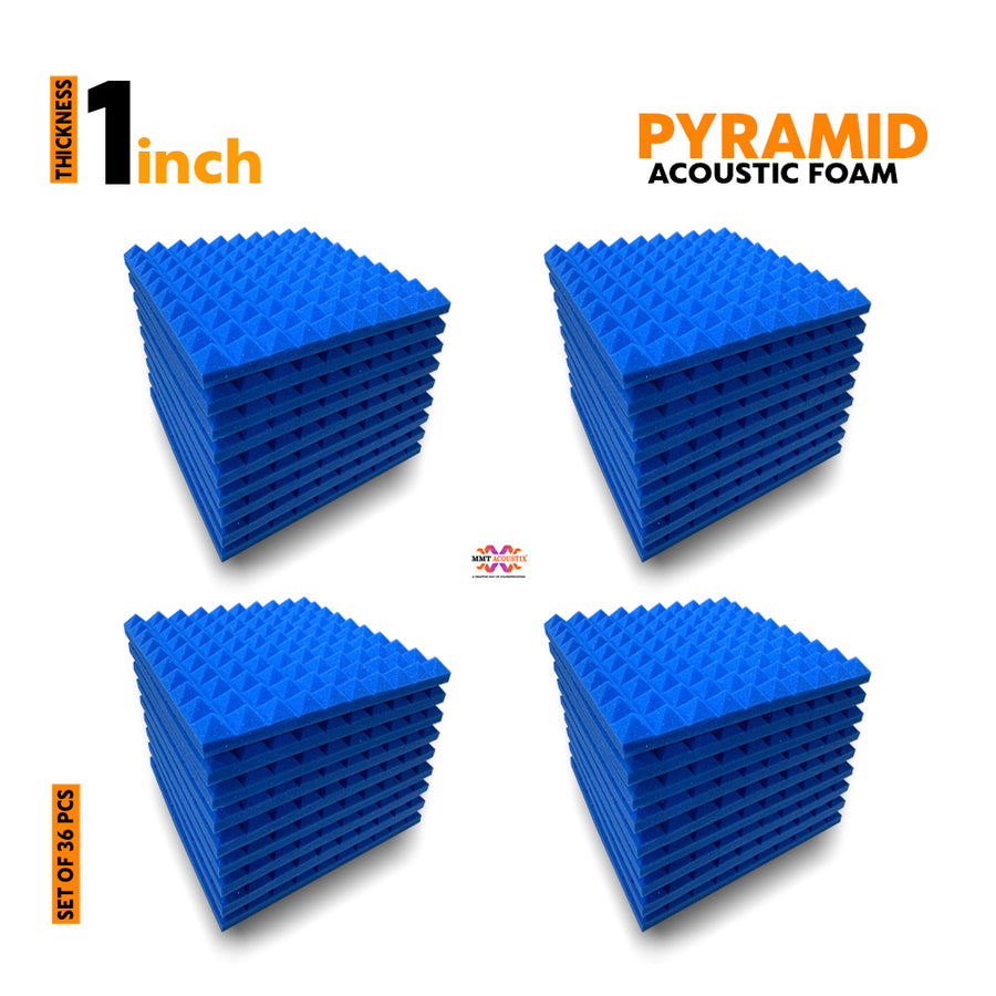 "Pyramid Acoustic Foam Panel, European Blue, 1"" Set of 36 pcs"