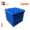 Pyramid Acoustic Foam Panel, European Blue, Set of 6 pcs