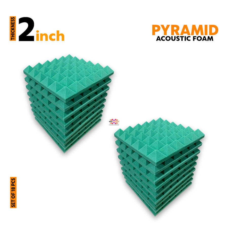 Pyramid Acoustic Foam Panel, Studio Green, Set of 18 pcs