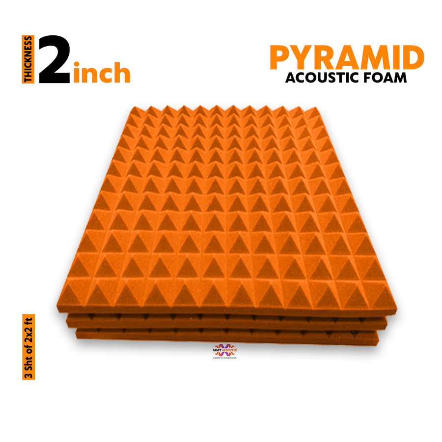 Pyramid Acoustic Foam Panel, MMT Orange, 2'x2' Set of 3 pcs