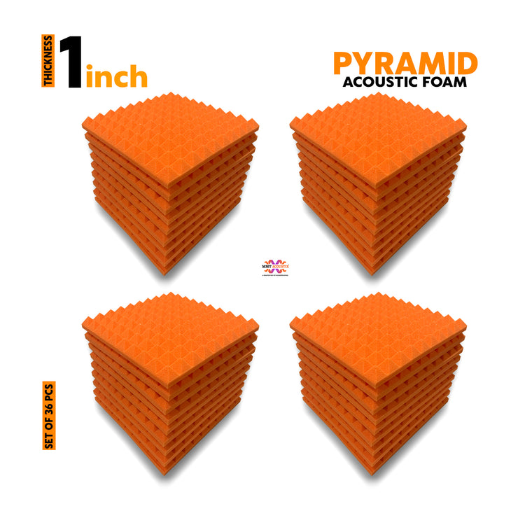 "Pyramid Soundproofing Acoustic Foam 1x1 ft, 1""  (MMT Orange) - Set of 36"