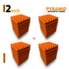Pyramid Acoustic Foam Panel, MMT Orange, Set of 36 pcs