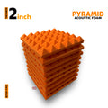 Pyramid Acoustic Foam Panel, MMT Orange, Set of 9 pcs