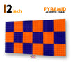 Pyramid Acoustic Foam Panel, (Orange + Purple), Set of 18 pcs