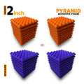 Pyramid Acoustic Foam Panel, (Orange + Purple), Set of 36 pcs