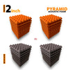 Pyramid Acoustic Foam Panel, (Orange + Wine), Set of 36 pcs