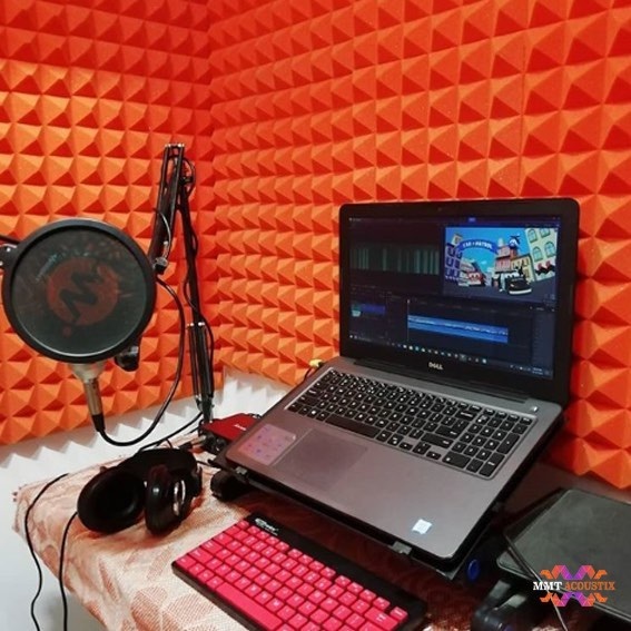 Pyramid Acoustic Foam Panel, MMT Orange, 3'x3' Set of 2 pcs