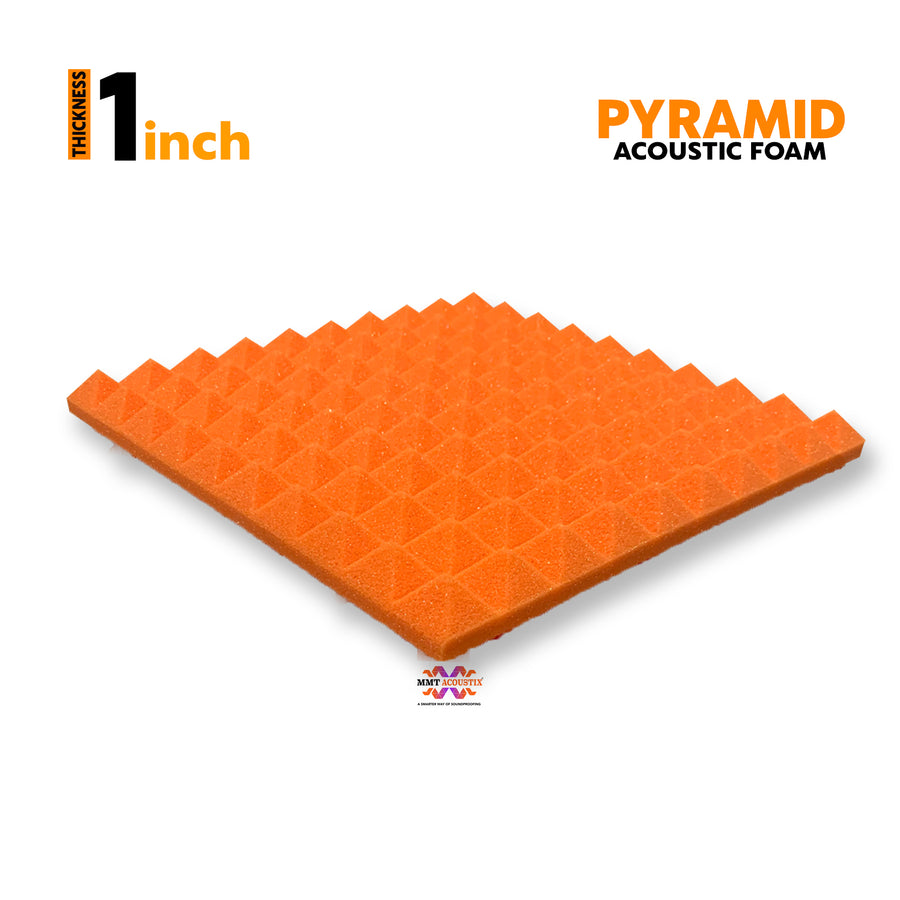 "Pyramid Acoustic Foam Panel, (Orange + Blue), 1"" Set of 18 pcs"